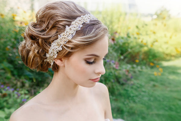 Bridal Headband Gold and Pearl