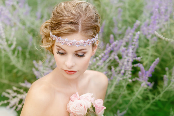 Bridal Headband Pink Beaded
