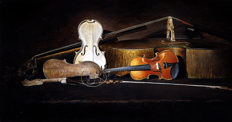 oil painting of a still life of violin, cella, viola, and upright bass
