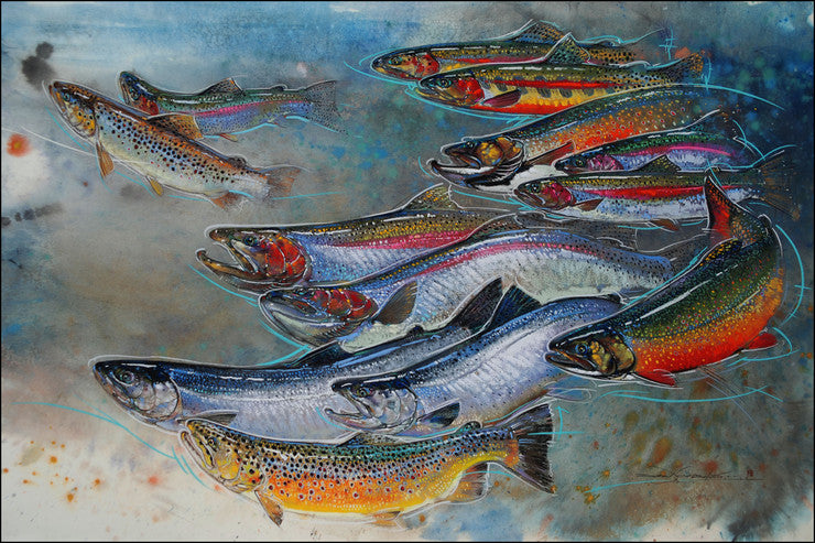 pastel painting of a school of vibrant sockeye salmon