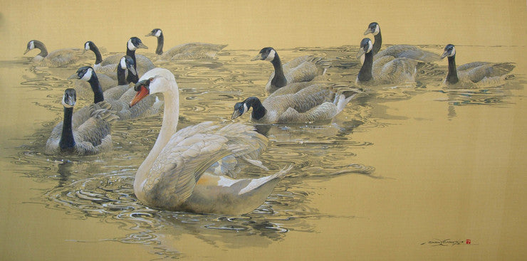 silk painting of a swan in front of a gaggle of geese