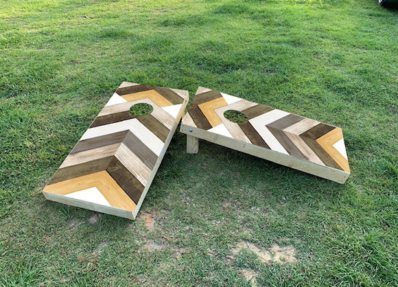 Cornhole Wrap Set Wood Herringbone Plank