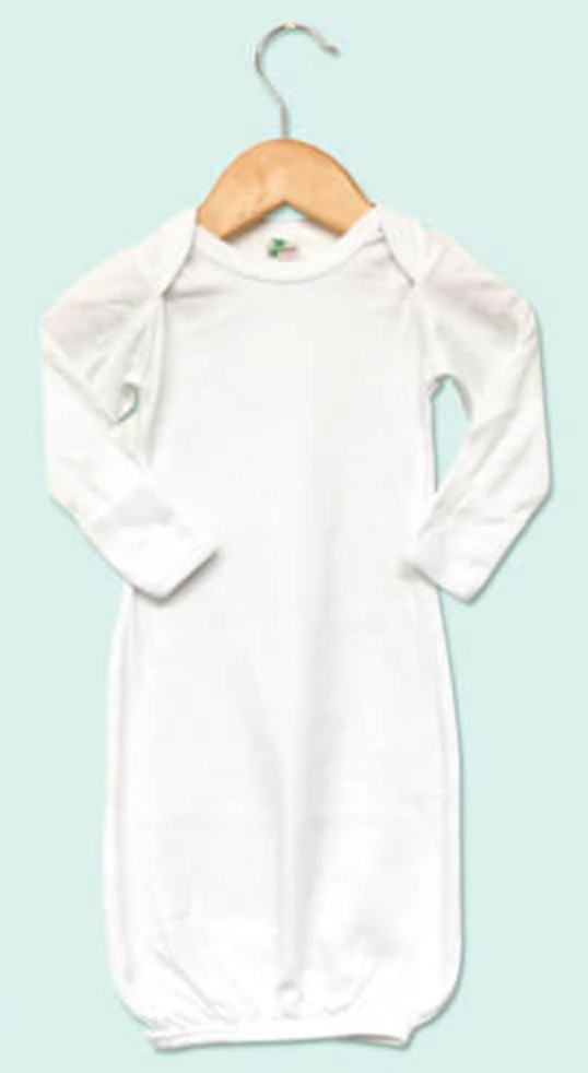 Baby Sleeping Gown w/ Mittens Sublimation White