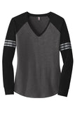 Women's Game V-Neck Long Sleeve Heather Charcoal Chest/ Black Sleeve