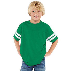 Football Jersey T-Shirt Kelly Green Chest/White Stripe