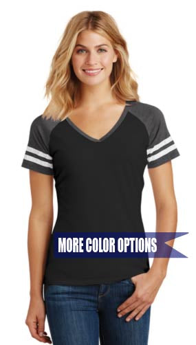 Football Women's Game V-Neck Tee Adult S-4XL