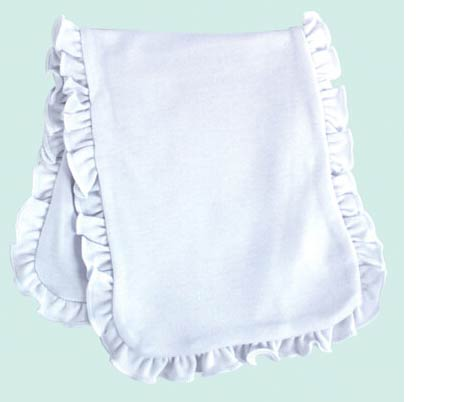 Baby Burp Cloth 2 Ply Sublimation White Ruffles