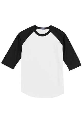Baseball Jersey 3/4 T-Shirt (Black Sleeve / White Chest)