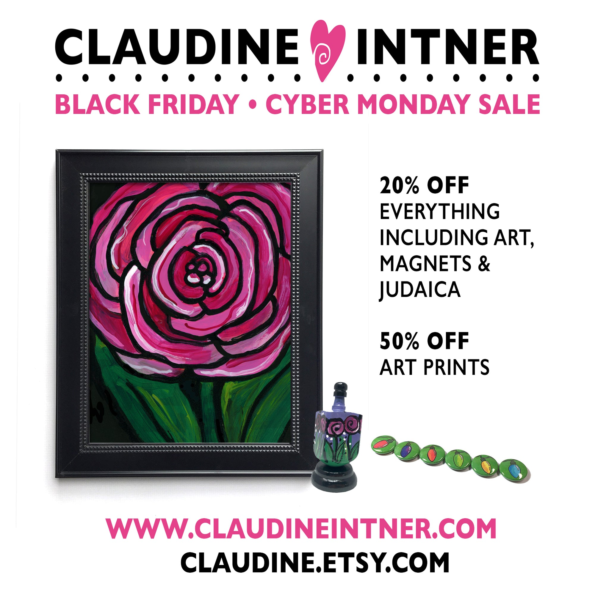 Black Friday Cyber Monday Sale - 20% off everything, 50% off prints