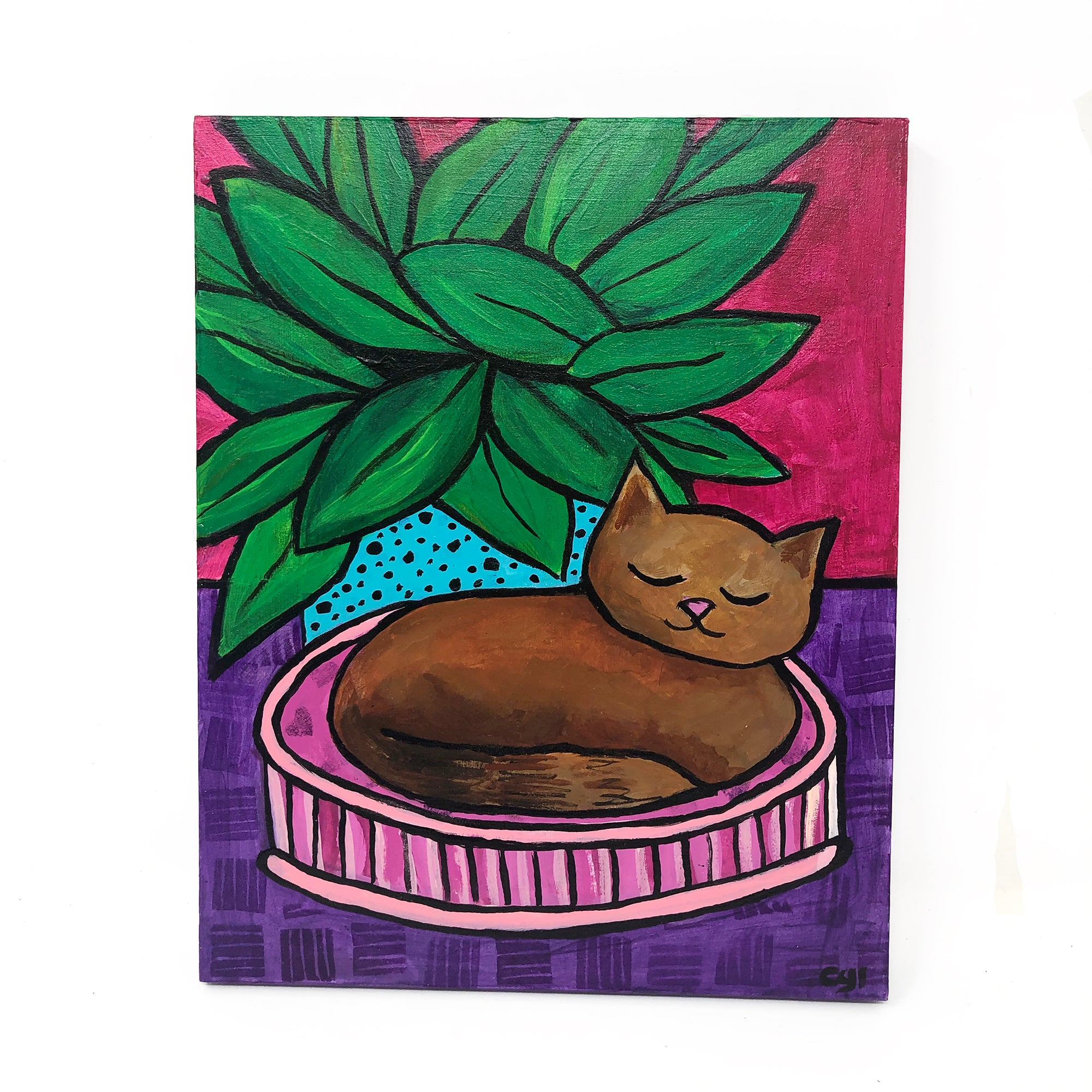 Cat Nap by Claudine Intner - Acrylic painting on cradled wood board. 10 x 8 inches. 2020