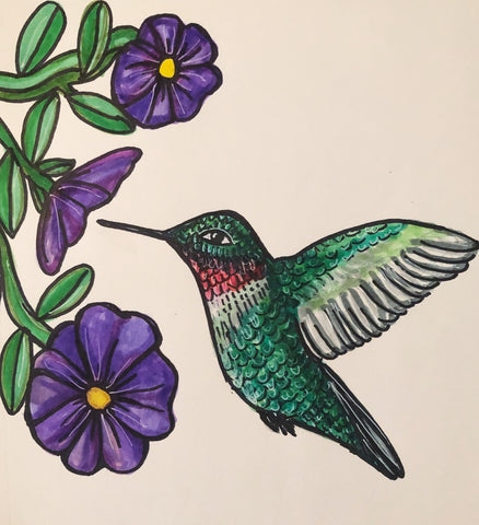 Hummingbird from Birds and Bees Sketchbook by Claudine Intner