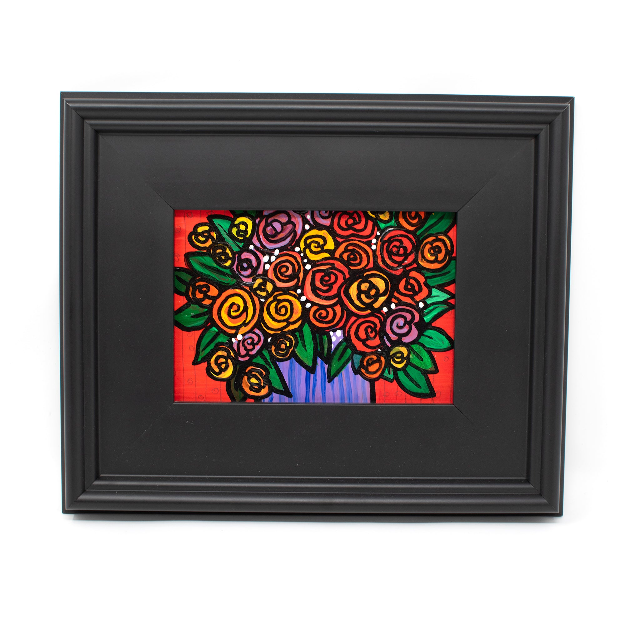 Whimsical Rose Painting in Black Frame