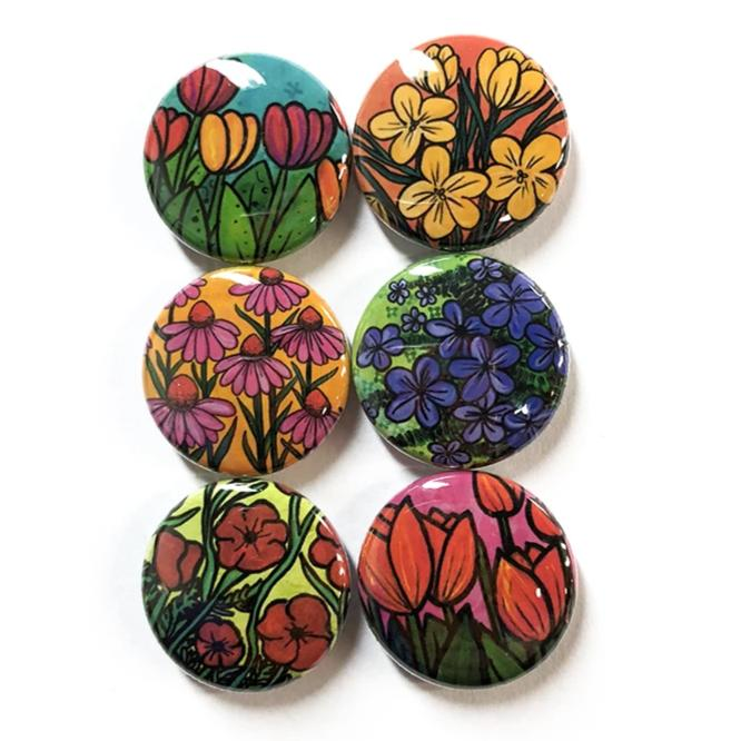 Flower Magnet Set or Pin Set