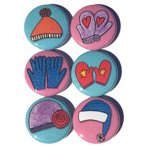 Winter Fridge Magnets or Pinback Buttons - Mittens, Gloves, And Hats