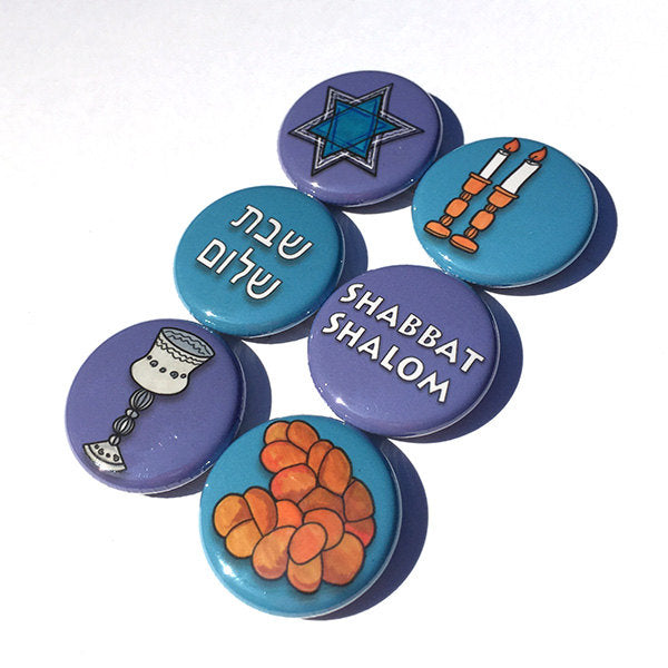 Shabbat Magnets or Pinback Buttons Set