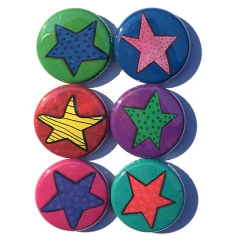 Star Magnets or Star Pinback Buttons