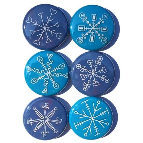 Snowflake Magnets or Snowflake Pinback Buttons