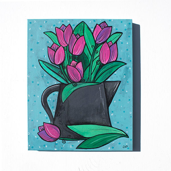 Pink Tulips in Watering Can - Floral Still Life Painting