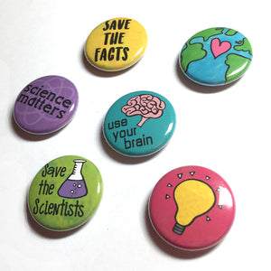 Science Pin Back Buttons or Fridge Magnets