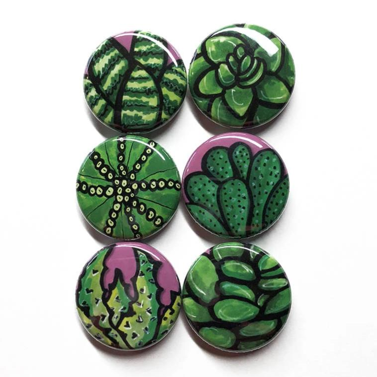 Succulent Magnets or Succulent Pinback Buttons