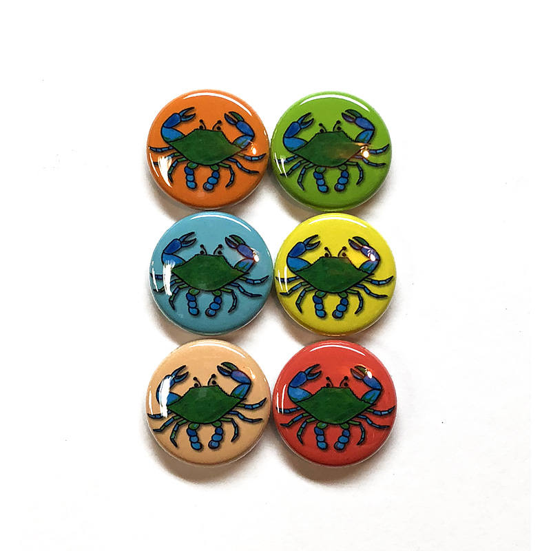 Blue Crab Magnets or Blue Crab Pin set - 1 inch crab pinback buttons or fridge magnets, Maryland, Chesapeake Bay, crab Art, crustacean