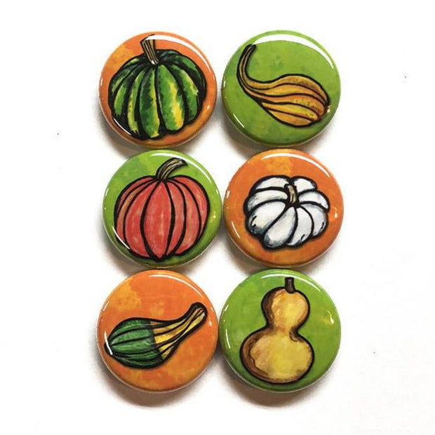 Gourd Magnets or Pins - Thanksgiving - Host or Hostess Gift - Autumn - Fall Decorations or Accessories - Pinback Buttons or Fridge Magnets