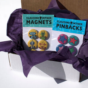 MultiColor Magnets or Pinback Buttons Set - Office, Kitchen, or Fridge Magnets or Pins - Gift under 10 dollars