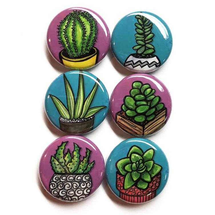 Succulent Plant Pin Back Badge or Fridge Magnet Set
