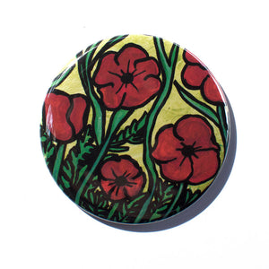 Poppy Flower Magnet, Mirror, or Pin
