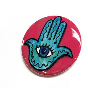 Evil Eye Hamsa Magnet, Pocket Mirror, or Pin Back Button
