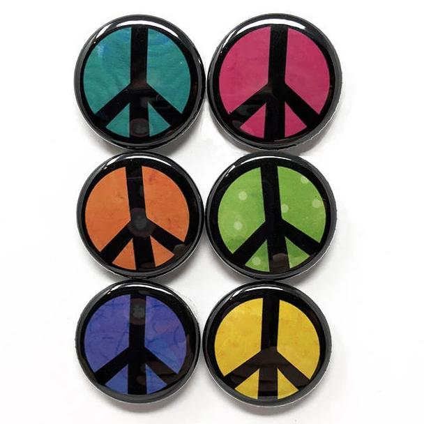 Peace Pin or Peace Magnet Set - Peace Symbol