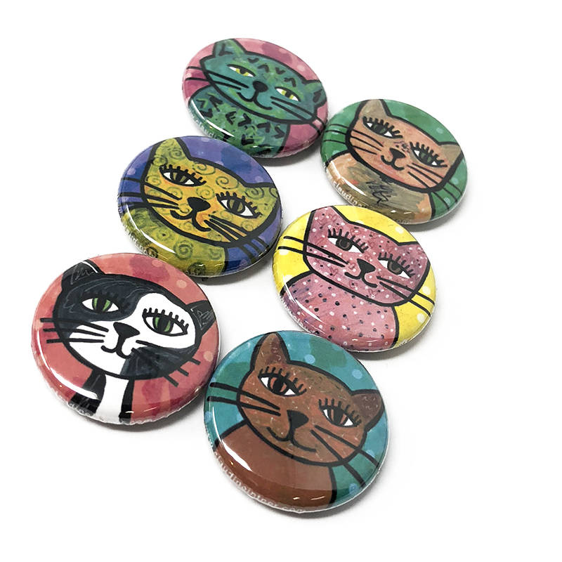 Whimsical Cat Magnets or Cat Pin Back Buttons Set - Cute Animal Magnet or Pinback Buttons