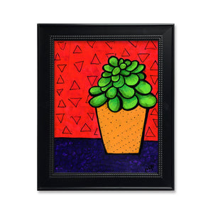 Jade Plant Print - Botanical Art Print in Bright Colors