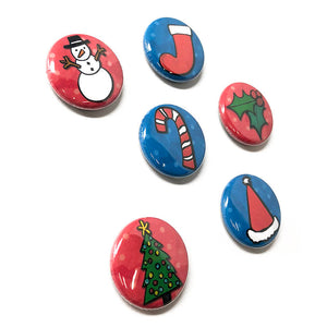 Christmas Magnets or Pinback Buttons - 1 Inch Holiday Magnet or Pin Back Set - Cute Pins - Fridge Magnets - Party Favors - Stocking Stuffers