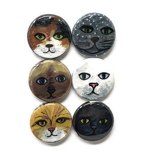 Cute Cat Magnets or Pins - Animal Fridge Magnet Set or Pinback Button Set