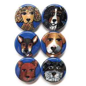 Cute Dog Magnets or Dog Pinback Buttons - Dog Lover Gift