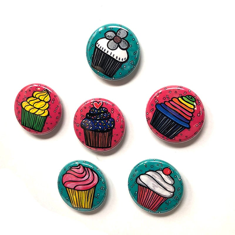 Cupcake Magnets or Cupcake Pinback Buttons - Cute Food Magnets or Food Pins Set
