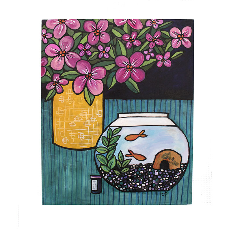 Goldfish Painting - Colorful Modern Still Life Original Art
