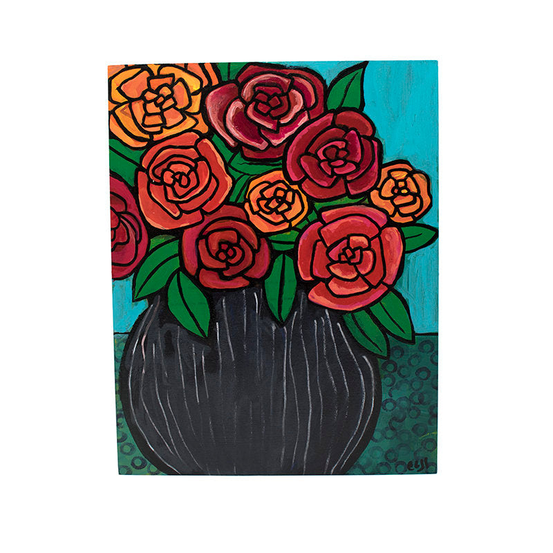 Red Rose Still Life Painting - Bunch of Roses in a Vase