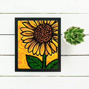 Whimsical Sunflower Print - Yellow Floral Art Print