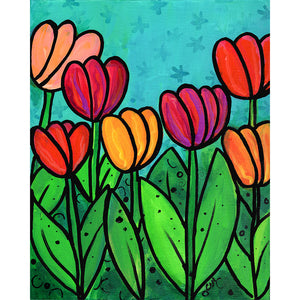 Floral Art Print - Spring Tulips Print for Kitchen, Bedroom, or Living Room