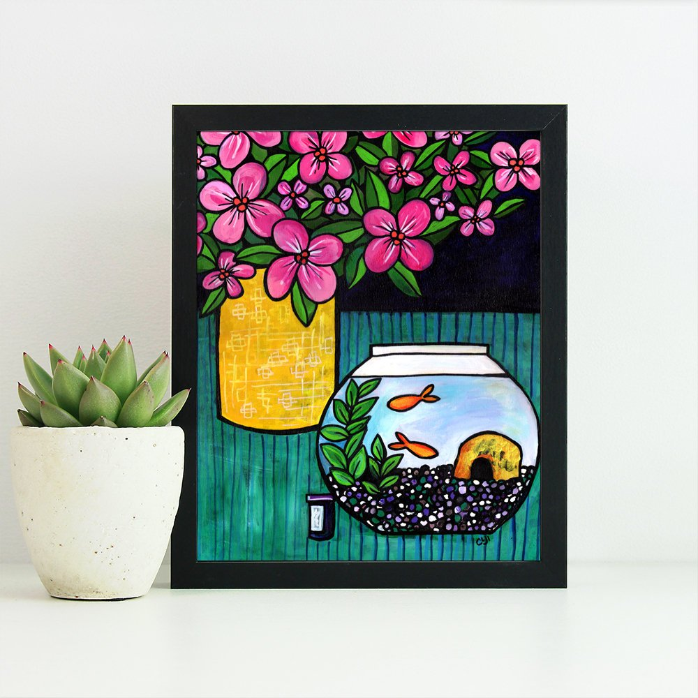 Goldfish Art Print - Floral Still Life with Gold Fish Bowl