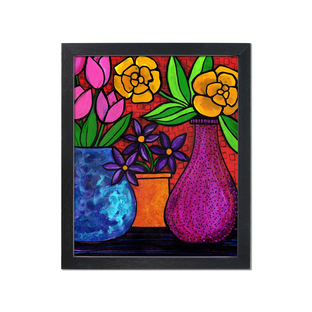 Floral Still Life Art Print - Vases of Flowers Print with optional black mat