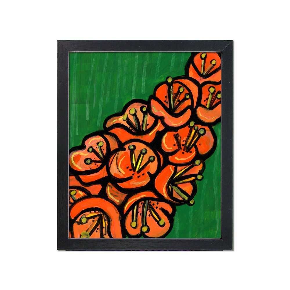 Tropical Floral Print - Green and Orange Flower Art Print