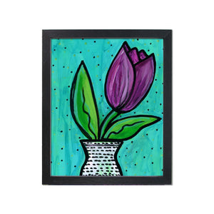 Purple Tulip Print - Whimsical Floral Art Print