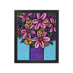 Bouquet of Flowers Print - Abstract Floral Art Print with Pink, Purple, Yellow Flowers on Blue