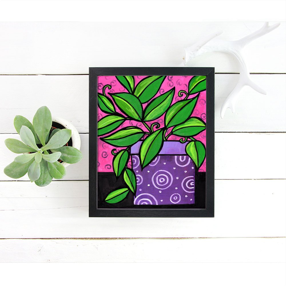 Potted Plant Print - Purple Green Pink Still Life Wall Art Decor
