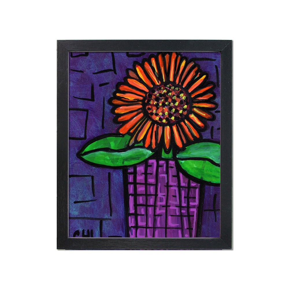Purple and Orange Flower Print - Whimsical Floral Giclee