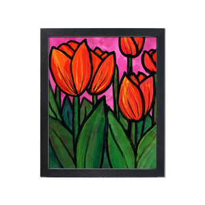Tulip Art Print - Red Magenta Green Floral Wall Art Decor