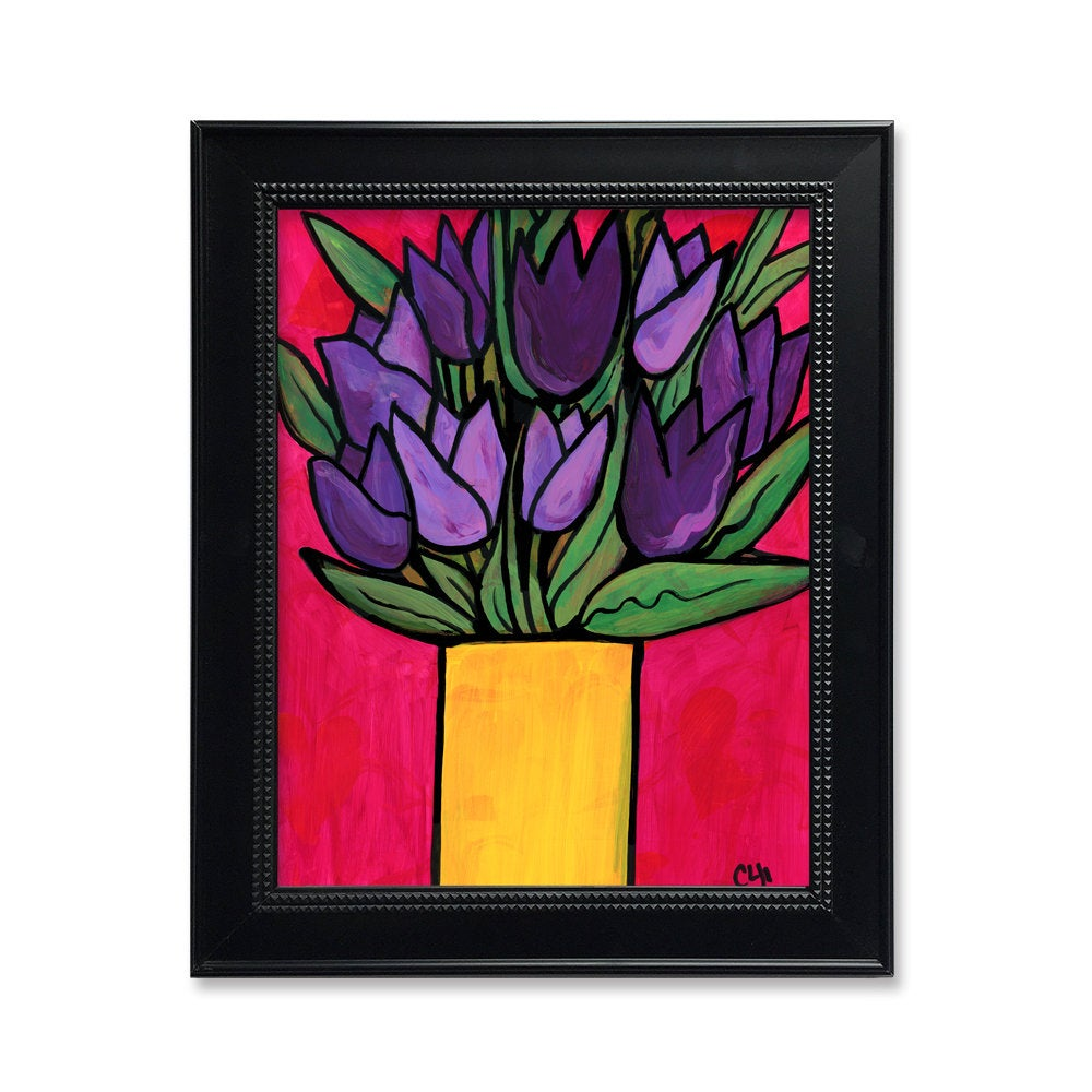 Purple Tulip Print - Bold Color Art Print with Purple Flowers in Yellow Vase on Vibrant Deep Pink